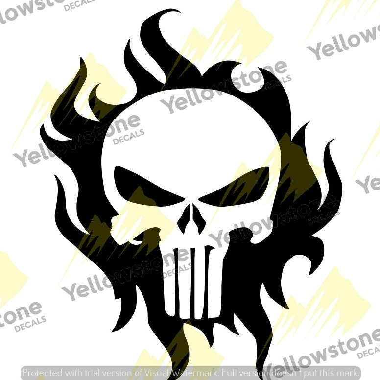 Punisher - Skull in Fire | Yellowstone Decals