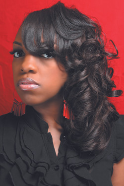 Elegant half twist pin up with body curls
