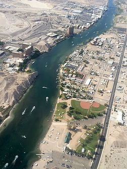 Aerial photograph of Laughlin Nevada and Colorado River