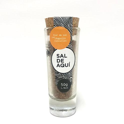 Flor de sal mit Heuschrecke- Sal de Aqui