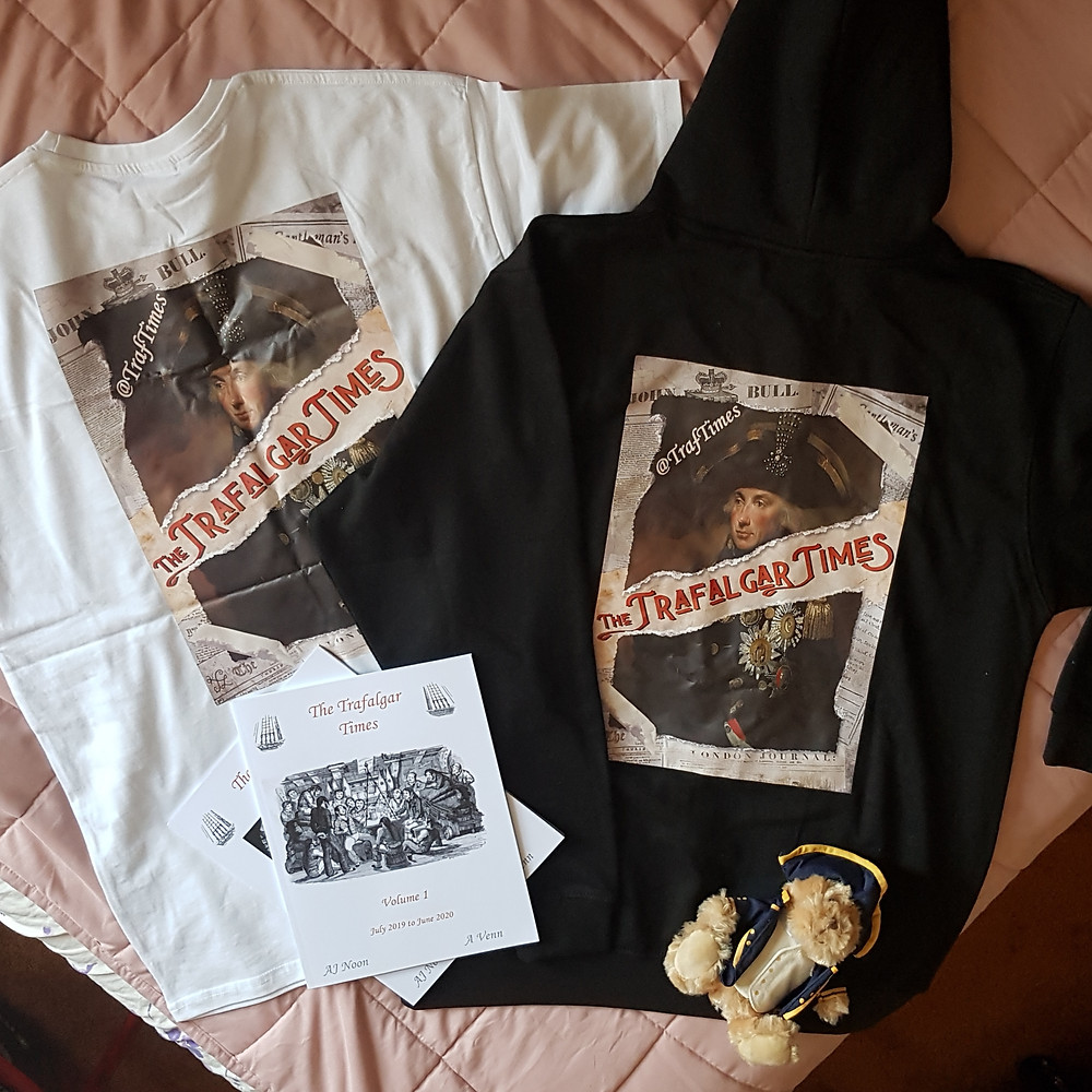 A tshirt and hodie featuring the Trafalgar Times poster above, and a couple of traf times books.