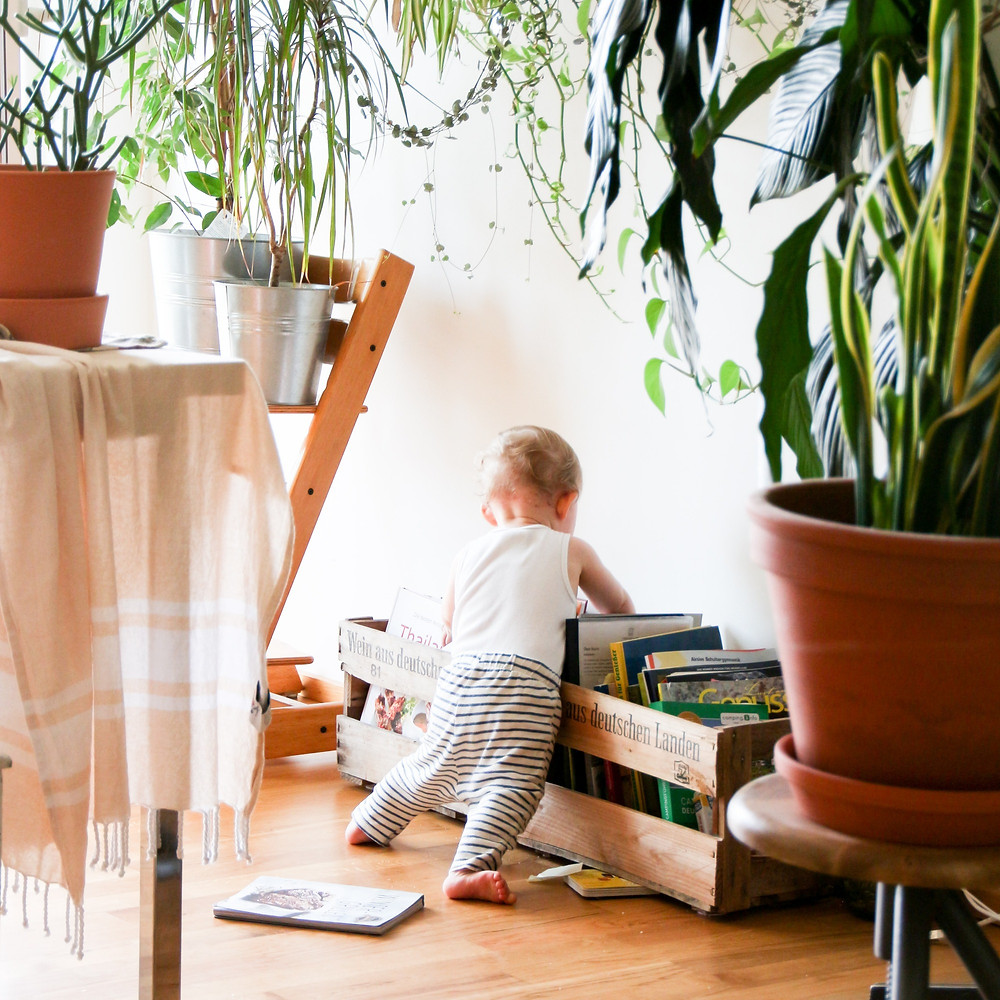 Baby reaching for books in green living setting