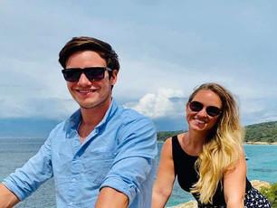 """Captain Benjamin Dalton and Chef Hannah O'Connor onboard Sailing Catamaran """"Champs Elysees"""""""