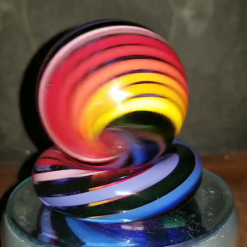 cane rainbow glass marble spinner