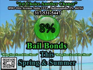8% Bail Bonds! Save 20%! This Spring & Summer! 317-531-5447! 2019