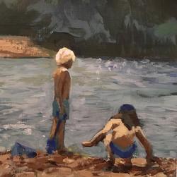Busy Boys on the Beach   |   acrylic on paper   |   £50