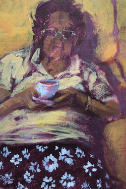 Mary K with a Cuppa  |  acrylic on paper