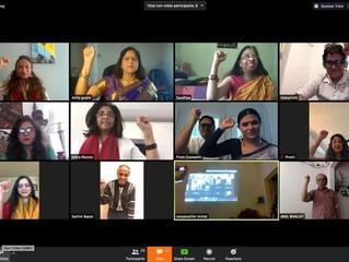 Screen shots of launch of e-Natika on ZOOM