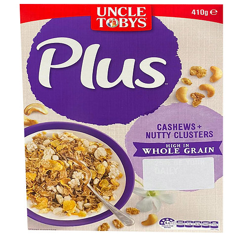 Uncle Tobys Plus Cereal - Cashews + Nutty Clusters