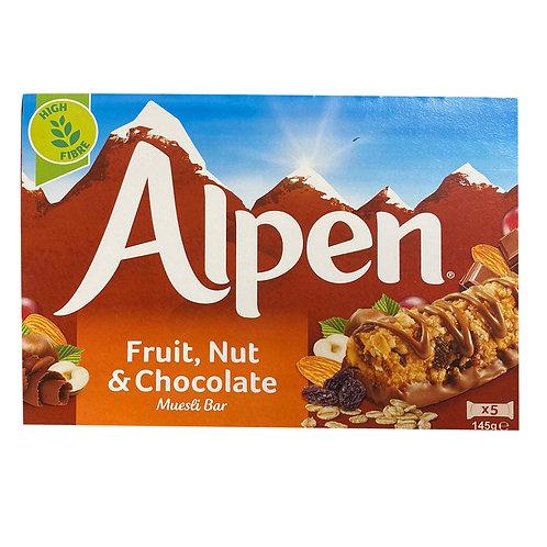 Alpen Muesli Bar - Fruit, Nut & Chocolate 5 x 29g