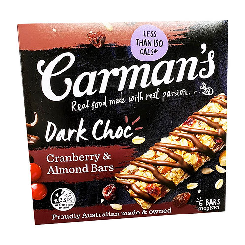 Carman's Muesli Bars - Dark Chocolate with Cranberry & Almond 6 x 35g