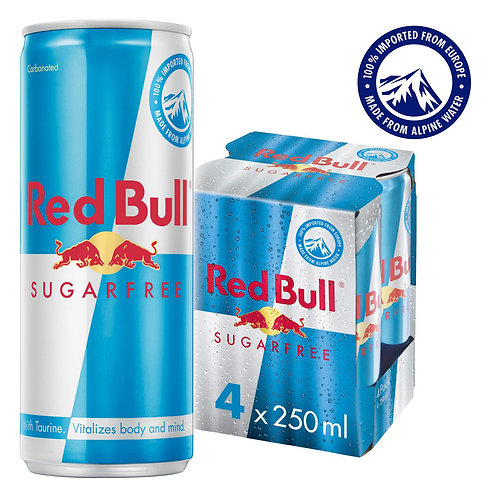 Red Bull Energy Can Drink - Sugar Free 4 x 250ml