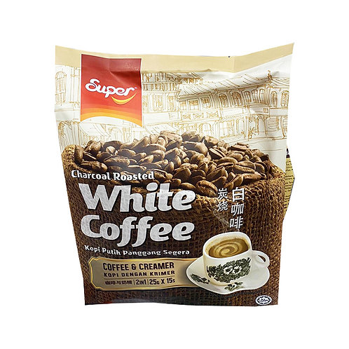 Super 2 in 1 Instant Charcoal Roasted White Coffee + Creamer 15 x 25g