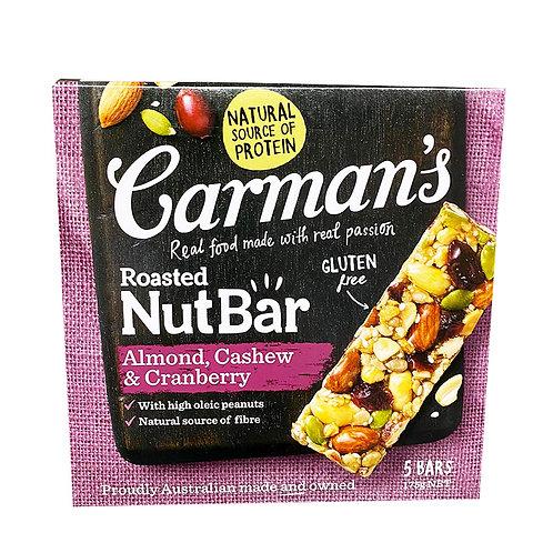 Carman's Nut Bars - Almond with Cashew & Cranberry 5 x 35g