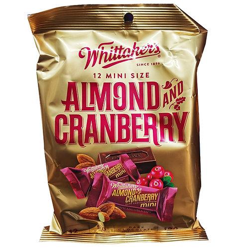 Whittaker's Mini Dark Chocolate Bar - Almond & Cranberry 12 x 15g