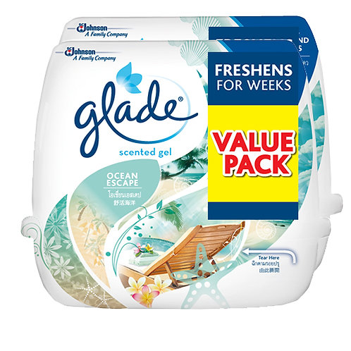 Glade Scented Gel Ocean Escape 180g x2 Twin Pack