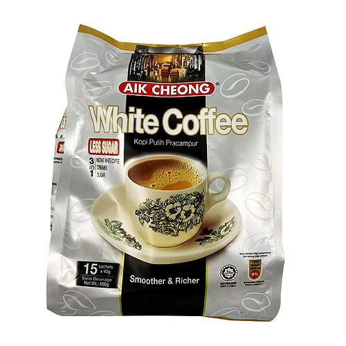 Aik Cheong 3 in 1 Instant White Coffee - Tarik (Less Sugar) 15 x 40g