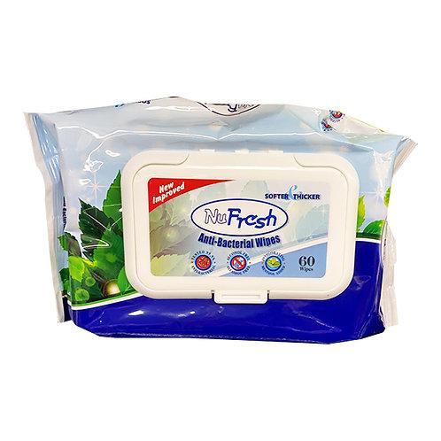 NuFresh Anti-Bacterial Wipes60 per pack