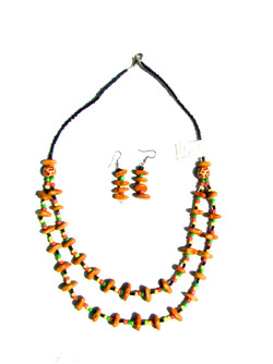 Colourful Seed Necklace & Earings
