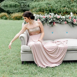 #bridesmaid #dress #couch #pastels #gold #flowergarland