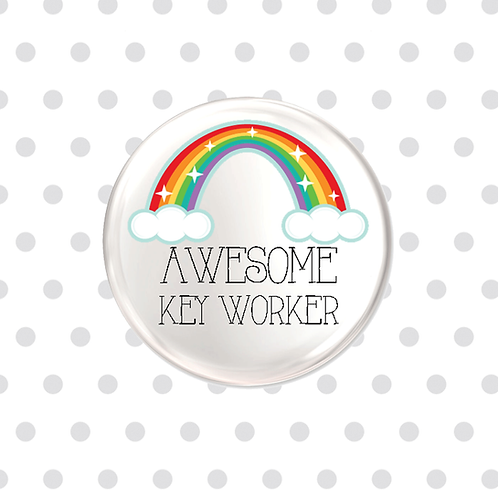 Awesome Keyworker Badge, Magnet or Keyring