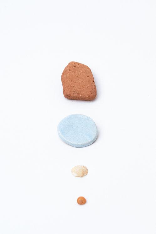 Broches cercle - blanc bleuté