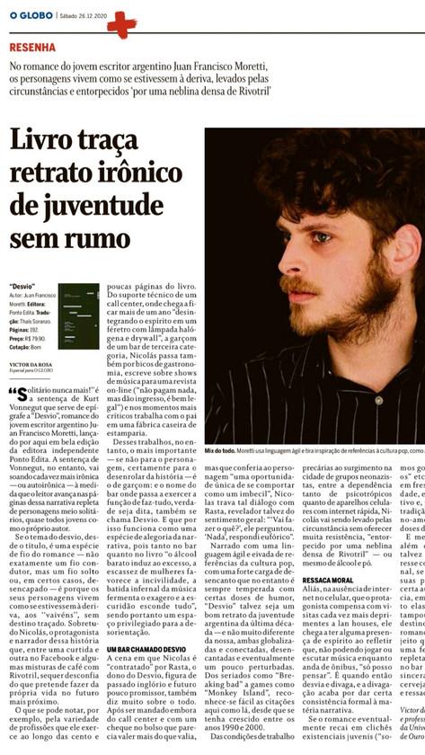 """Resenha de """"Desvio"""" no jornal """"O Globo"""""""