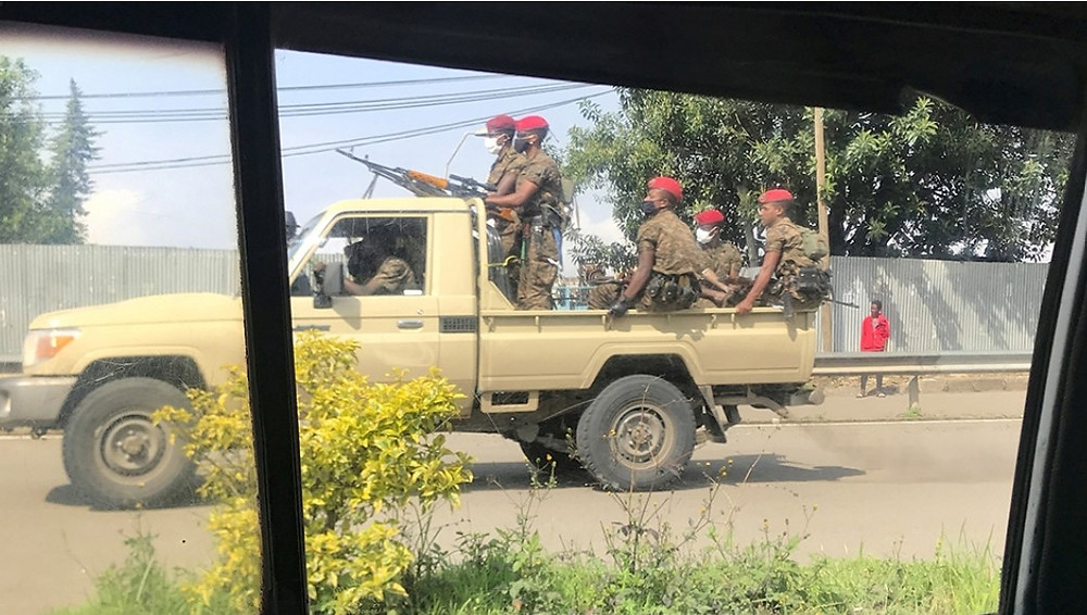 Ethiopian military patrol the streets following protests in Addis Ababa [Tiksa Negeri/Reuters]