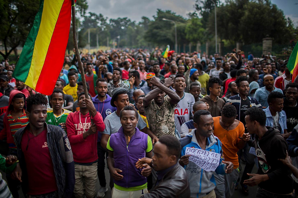 protesters demand justice from the government in Addis Ababa, Ethi­o­pia. (Mulugeta Ayene/AP)