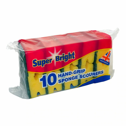 Super Bright 10 Hand-Grip Sponge Scourers