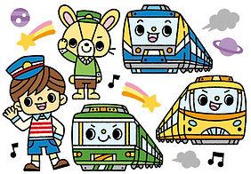 電車と子供のイラスト