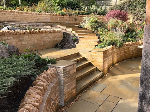 Steps, Paving and Drystone walling with mortor example