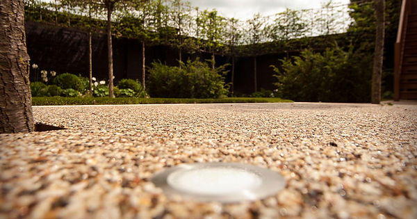 Resin bound driveway with fitted flush spot lights