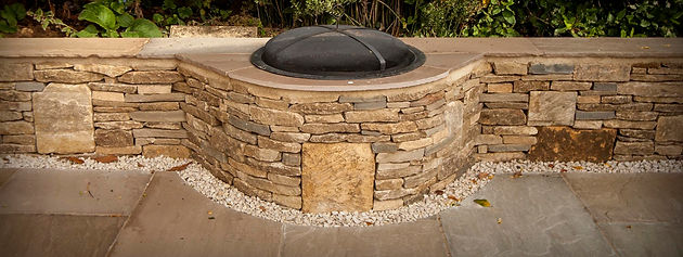 Dry stone wall firepit