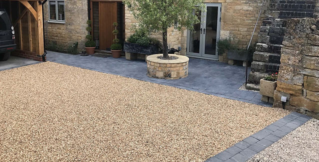 Block paving and gravel driveway