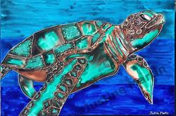 $400 #art #geelongartist #geelongart #geelong #painting #ink #inkpainting #deepsea #greenseaturtle #