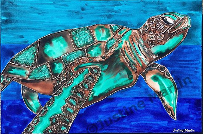 $400 #art #geelongartist #geelongart #geelong #painting #ink #inkpainting #deepsea #greenseaturtle #