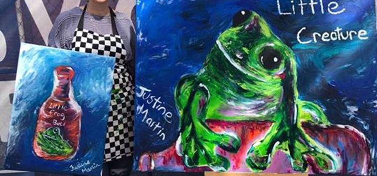 finger painted frogs