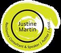 JUSTINE - SPEAKER LOGO - WHITE CIRCLE F.png