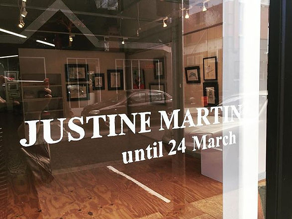 My name is up in lights ....well on a window! My solo exhibition is running till 24th March at Karin