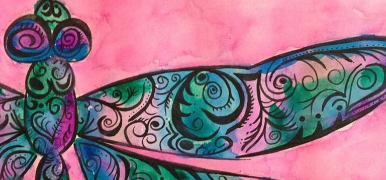 'Dragon Swirls' #ink #instaart #art #artists #watercolours #juzzztine #juztart #dragonflys #swirls #