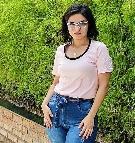 Camiseta unissex Gola a fio Preta