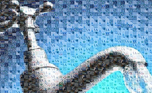 a mosaic using water bottle images to make the image of a sink tap