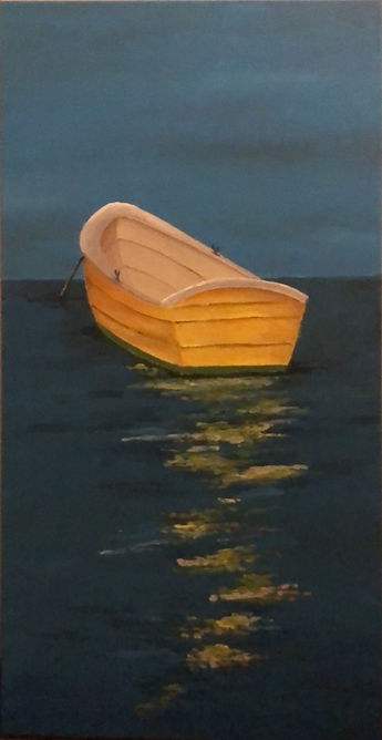 Yellow row boat with dark blue background