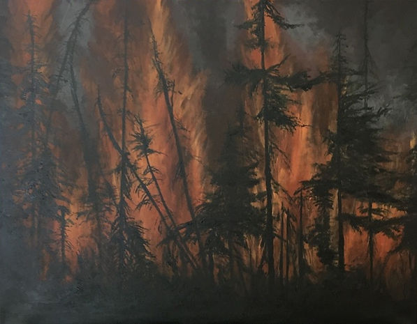 Forest fire painting about global warning