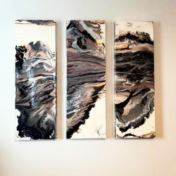 purple, pink, black, white, gray and silver painting
