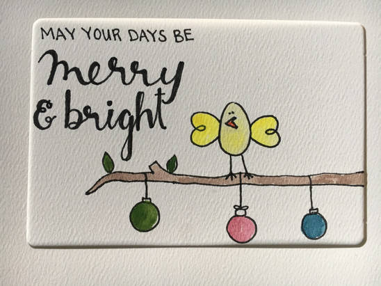 handmade may your days be merry and bright card with a small bird and tree branch