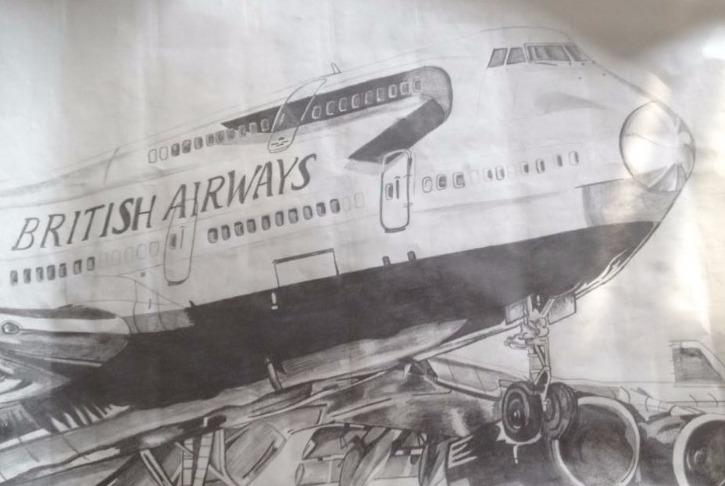 British Airways plane drawing
