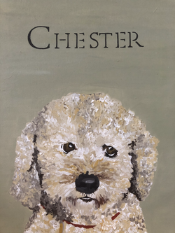 Chester cockapoo dog painting