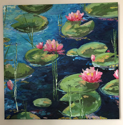 lily pads and flower painting